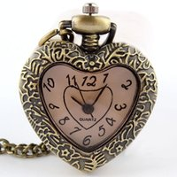 Wholesale Wholesale Peach Watch - New Luxury steel bolso Style Pocket watch Retro Bronze Quartz Necklace Chain Peach Heart Hollow Pendant Pocket Watch For Women