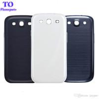 s3 häute großhandel-Großhandel - 50pcs Back Housing Batterieabdeckung für Samsung Galaxy S3 SIII i9300 Batteriefach Kunststoffgehäuse Haut mit vollem Logo