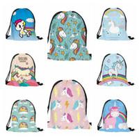 Wholesale Print Bags Wholesale - 18 Styles 3D Digital Printed Unicorn Drawstring Bag Cartoon Unicorn Backpacks Travel Bags Beach Bags 38*30cm CCA7481 50pcs