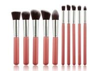 meilleur ensemble de pinceaux de maquillage professionnel achat en gros de-Kabuki Maquillage Brosses 10 pcs / set Professionnel Kit Pinceau Cosmétique Nylon Cheveux En Bois Poignée de haute qualité DHL gratuit meilleur cadeau