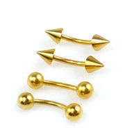 20pcs 16g 18K Gold Plate Mix Spikes Balls Curved Barbell, anneau de sourcils Surgical Steel Piercing Jewelry Screw Lip Rings Ear Stud 7165