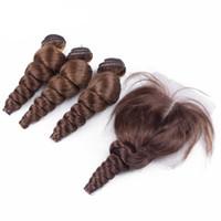 Wholesale Medium Top Hair Piece - 8A Grade Peruvian Loose Wave Hair With Closure 4Pcs Lot #4 Medium Brown Loose Curly Lace Top Closure Pieces 4x4 With Hair Bundles