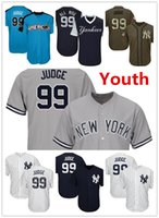 Wholesale Navy Kids Shorts - Youth Kids Child Yankees 99 Aaron Judge Baseball Jersey Navy Blue White Gray Grey 2017 All Star Players Weekend Green Salute Team Logo
