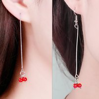 XS Tassel Long Sakura Розовые жемчужные серьги Creative Acacia Red Beans Ear Wire Earrings Products Wholesale