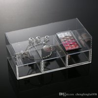 Wholesale Cheap Acrylic Cases - New Organizer Plastic New Anti-Scratch Acrylic Makeup Organizer Cosmetic Case Lipstick Holder Box Make Up Clear Cheap Storage Box Drawers