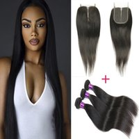 Wholesale Cheap Hair Lace Closure Piece - 8A Mongolian Straight Hair 4 Bundles With Closures Bellqueen Cheap Human Hair Extensions With 4*4 Lace Closure Piece Straight HC Hair Weave