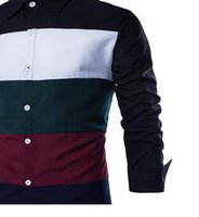 Wholesale french cuff clothing - Wholesale- MYTL New Fashion Long Sleeve Cotton Patchwork Slim Fit French Cuff Casual Male Shirt Clothes
