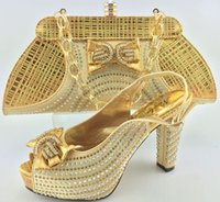 Wholesale Chunky Heel Party - Latest Design African Shoes and Bags Matching Set High Heels Shoes and Bag Set Women Pumps Italian Style Wedding and Party Dress Gold