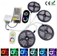 Wholesale 15m Remote - FULL SET 10M 20M 15M RGB SMD 5050 60Leds M Led Strip christmas Lights 14.5W M Waterproof Tape+RF Touch remote Controller