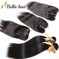 Wholesale Dhl Hair Peruvian Straight - 2PCS Peruvian Hair Weft With Lace Closure(4x4) Free Part Middle Part 3 Part Top Closures 3pcs lot Hair Extensions Bellahair DHL 6A