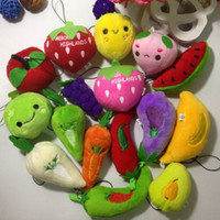 Teddy Bear packaging of fruits and vegetables - 100pcs Collection Of Plush fruit and vegetable Mixed Package Dolls For Phone Key Bag Pendants Cartoon Stuffed Toy
