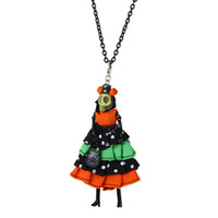 Lovely France Dance Doll Necklace Necklace Cute Dress Skull Doll New Fashion KeyChains Jewelry Mujeres Estilos Accesorios Regalos de Halloween