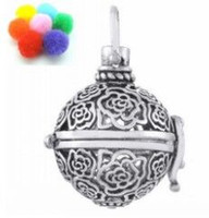 Wholesale Hollow Box Lockets - 10pcs Brass Flower Locket Fragrance Essential Oil Aromatherapy Diffuser Pendant,hollow Cage Filigree Ball Box loclet pendant For DIY Jewelry