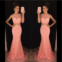 Wholesale Modern Vogue Mermaid Trumpet - 2017 New Vogue Pink Full Lace Mermaid Evening Dresses Two Piece Formal Slim Special Occasion Party Gowns Custom Online