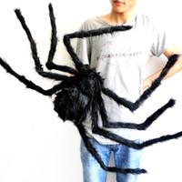 jouets en peluche taille achat en gros de-75cm grande taille araignée en peluche en fil et peluche Halloween accessoires araignée Drôle Jouet pour la fête ou Bar KTV halloween décoration