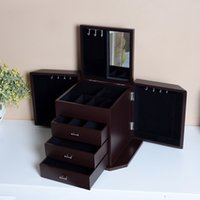 organize dresser - Brown Wooden Jewelry Canbinet Box Make Up Case Cosmetics Organize Storage Box With Inner Mirror Stock in USA
