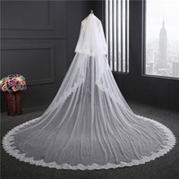 Wholesale Rhinestone Chapel Length Veils - Best Selling High-Quality Lace Netting Beads Long Romantic One Layer Chapel Length Bridal Veil Wedding Veil Lace Purfle with Comb BD053