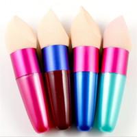 esponjas de maquiagem grátis venda por atacado-Fundação maquiagem Pincel de Esponja Escovas Cosméticas Líquido Oval Líquido Fundação Creme Corretivo com Navio Livre + Presente Livre