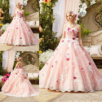 Wholesale Special Occasion Floral Gown - 3D Floral Appliques Ball Gown Quinceanera Dresses 2017 Blush Pink Sexy Strapless Lace Formal Special Occasion Gowns