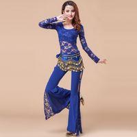 Wholesale Belly Dance Dancing Lace Pants - 2016 Women Two Piece Pants And Top 2pcs 3pcs Bollywood Costumes Roupa Belly Dance Indian Costume Dance Bellydance Dancer Cloths