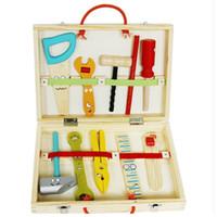 kit de ferramentas de meninos venda por atacado-Kid Ferramentas De Manutenção De Madeira Kit De Reparo Portátil Toolbox Inteligência Educacional Toy Simulação Ferramenta DIY para o menino