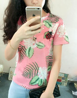 Wholesale Pink Ladybug - 2016 spring and summer in Europe and America geranium pink flower print Bee ladybug beaded loose short-sleeved T-shirt tide