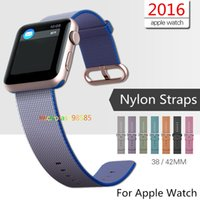 Wholesale Watches Colorful Bands - Colorful New Design Nylon Watch Band With Connector Adapter Clip For Apple Watch Nylon Strap For iPhone iWatch Buckle Bracelet