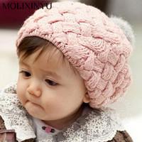 Wholesale Baby Cap Beret - 2017 New Baby Winter Hat Knit Crochet Baby Beret Girl Cap For Children Cotton Warm Cap Cute Warm Kid Beanie Unisex