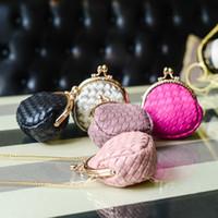 monedero pequeño de punto al por mayor-5 piezas de corea monedero lindo nuevas mujeres de punto mini cadena pequeña moneda bolsa hebilla mano las llaves