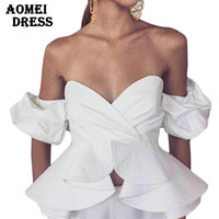 Wholesale Peplum Blouse Red - Women Off Shoulder Blouses Tops White Ruffles Puff Sleeve Sexy Wrapped Chest White Black Blue Red Shirts Summer Crop Tops Party Wear Blusas
