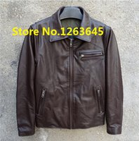 Wholesale Cheap Leather Brown Jackets - Fall-Super Deal Brown Cheap Genuine Leather Jacket Men Natural Cowskin Leather Coat Pockets Factory Price High Quality Free Shipping