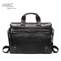 Wholesale Leather Notebooks For Men - New 2016 Men Leather Briefcase Messenger Bags Men Bag For Notebook Nen Shoulder Bag Brand Leather Office Bags SD-175
