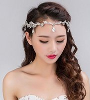Wholesale Headband Bridesmaids - 2016 Crystal Crown Bridal Hair Accessory Wedding Rhinestone Waterdrop Leaf Tiara Crown Headband Frontlet Bridesmaid Hair Jewelry