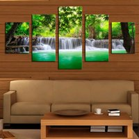 Wholesale Modern Oil Painting Green - Unframed 5 Panels Green Waterfall Scenery Canvas Print Oil Painting Modern Canvas Wall Art for Wall Picture Home Decor Artwork Free Shipping