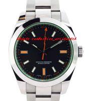 schwarze armbänder der männer großhandel-Luxuxarmbanduhr-Grün-Kristallschwarz-Vorwahlknopf 116400 Stailess Stahlarmband-automatische Sport-Mann-Herrenuhr-Uhren