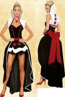 Wholesale Adult Alice Costume - Wholesale-free shipping 2016 high quality sexy Queen of Hearts costume women adult fantasy Alice In Wonderland party cosplay fancy costume