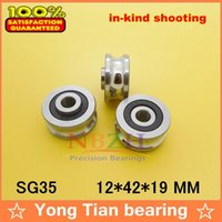 Wholesale Ball Bearing Abec - Wholesale- SG35 2RS U Groove pulley ball bearings 12*42*19 mm Track guide roller bearing SG12RS (Precision double row balls) ABEC-5