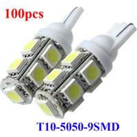 remplacement de led de frein achat en gros de-100x Voiture Auto xénon Blanc LED T10 194 W5W led 9smd 5050 Cale LED Ampoule Lampe côté queue parking parking fabricant de lumière