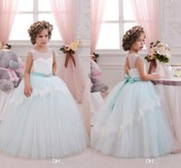 Wholesale Champagne Holiday Girl Dresses - 2017 Princess Ball Gown Flower Girl Dresses Mint Ivory Lace Tulle Weddings Party Holiday Communion Dresses For Kids