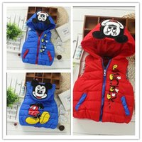 Wholesale Girls Jacket Shorts - Cute 2016 New Autumn Children Cartoon Mickey Mouse Vest Fashion Boys Girls Zipper Hooded Waistcoats Kids Cotton Winter Tops Baby Down Jacket