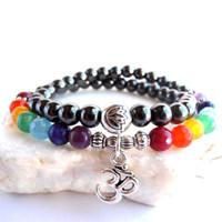 Wholesale Amethyst Beads Strand - SN0103 Sale 2016 New Design Hematite amethyst Bead Yoga Meditation bracelet 7 Chakra 54 beads Mala bracelet