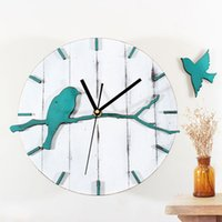 Reloj de pared nostálgico del reloj de pared de los pájaros encantadores de la vendimia DIY de la venta al por mayor DIY Reloj de pared no creativo del tickingWall del diseño del diseño