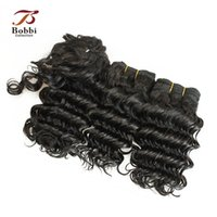 Wholesale Curly Virgin Malaysian Hair Styles - 3pcs Deep Wave Virgin Hair Weave Brazilian Peruvian Indian Malaysian Human Hair Extensions Short Curly Hair Bob Style 55g pc