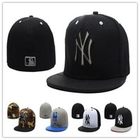 Wholesale Ny Flat Brim Caps - Cheap Yankees Fitted Caps Baseball Cap Embroidered Team NY Letter Size Flat Brim Hat Yankees Baseball Cap Size