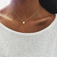 Wholesale Fine Sweaters - 2018 New Fashion Women Chokers Gold & Silver Plated Chain Star Heart Pendant Necklace Sweater Chain Fine Jewelry Xmas Gift A315