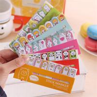 Wholesale Design Paper Pads - 7 Designs Lot DIY Mini Cute Kawaii Cartoon Animal Memo pad Cat Panda Music Post It Note Paper Stickers Korean Stationery