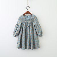 Wholesale Dress Clothes Korea - Everweekend Girls Floral Printed Ruffles Dress Vintage Korea Autumn Spring Children Clothing Sweet Fashion Baby Dress