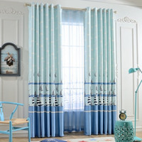 Wholesale Ready Made Curtain Window - Fashion Window Bedroom Curtain Polyester Blackout Cartoon Sheer Finished Curtain Ready-made Pleated Curtain Eyelet & Hooks Style 2 Panels