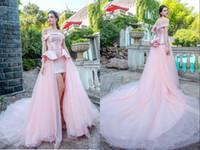 Wholesale Dresse Wedding Ball - Bateau Satin Tulle Ruffles Sweep Train Hand Made Flower Blush Pink Beautiful Sexy Wedding Dresse Wedding Gown