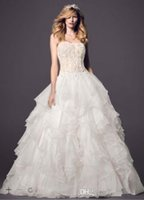 Wholesale Dramatic Train Wedding Dress - Free Shipping Custum Made 2016 Dramatic Strapless Ball Gown with Organza Ruffle BEACH bridal gowns Style AI14010362 Wedding Dresses